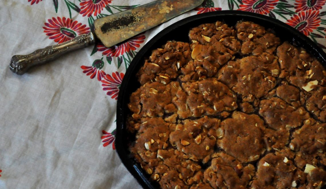 Strawberry Peach Browned Butter Oatmeal Skillet Cookie