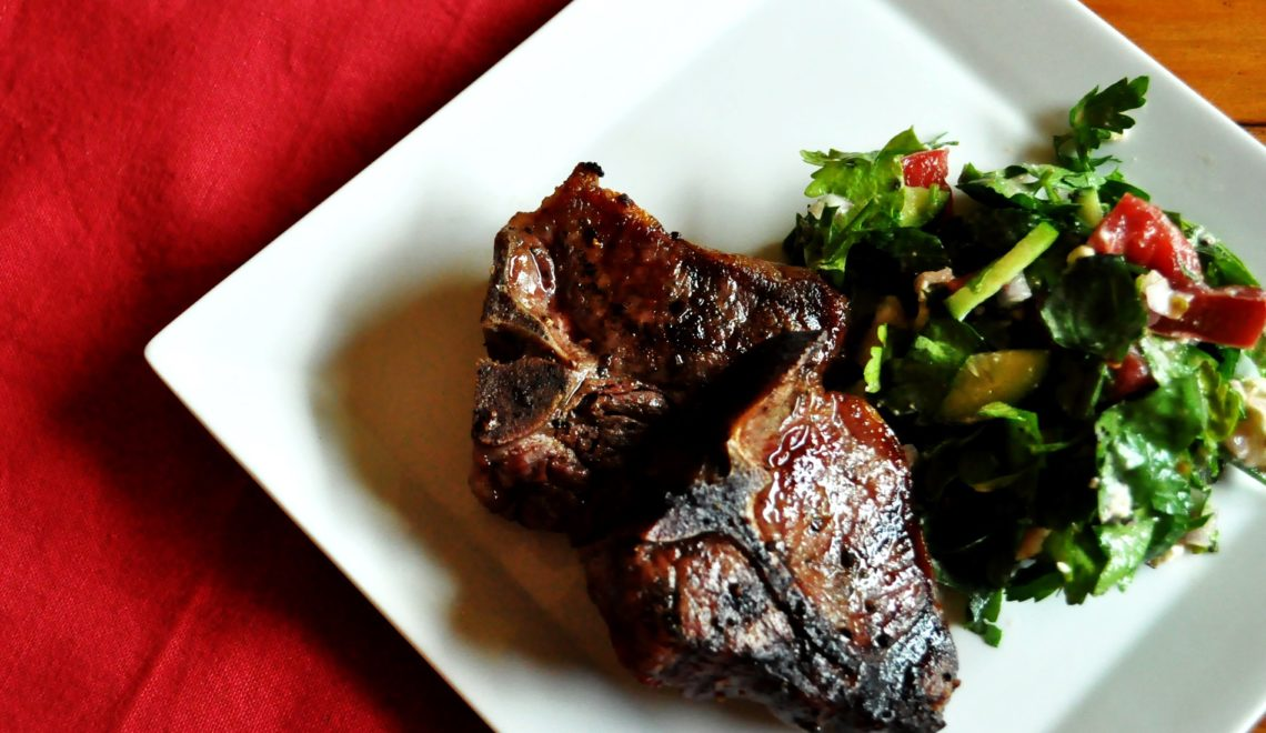 Grilled Lamb Chops and Herb Salad