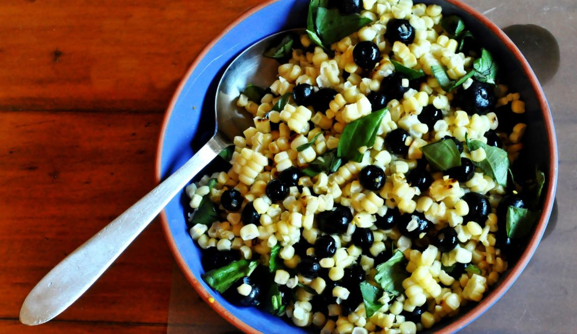 Grilled Corn & Blueberry Salad