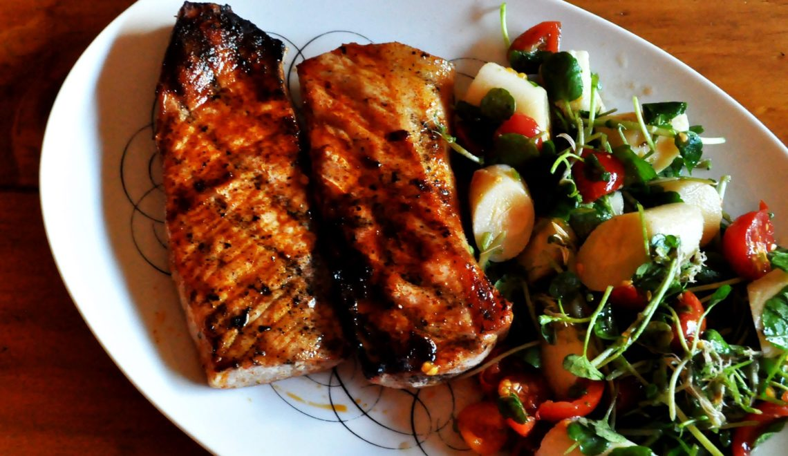 Paprika Pork Chops and Hearts of Palm Salad
