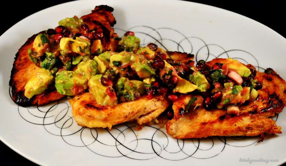 Chicken with Avocado Pomegranate Salsa